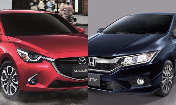 เทียบสเป็ค Mazda2 และ Honda City 2017 รุ่นท็อปทั้งคู่ อ็อพชั่นใครแน่นกว่า