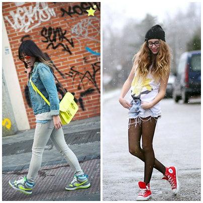 แฟชั่นรองเท้าผ้าใบคู่กับวัยรุ่น