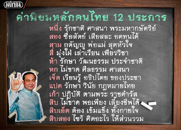 """""""กระทรวงศึกษา""""ซื้อเวลาฟรีทีวี สั่งโรงเรียนทั่วปท.ขึ้นไวนิล รณรงค์ค่านิยมไทย12ประการ"""