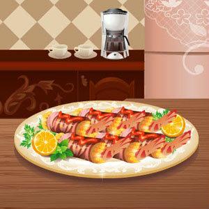เกมส์ทำอาหาร เกมส์ทำอาหาร Bacon Wrapped Shrimp Canapes