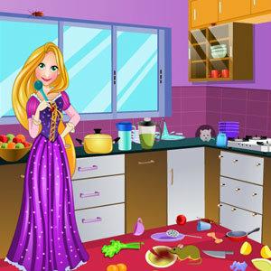 เกมส์แต่งบ้าน เกมส์ทำความสะอาด Rapunzel Messy Kitchen Cleaning