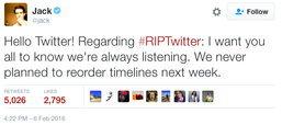 ซีอีโอ Twitter ออกโรงปฏิเสธ เรียงทวิตตามแบบ Facebook