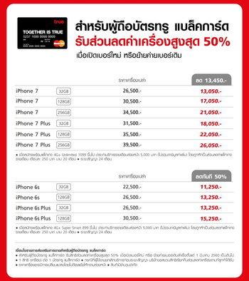 โปรโมชั่น iPhone 7 Truemove H