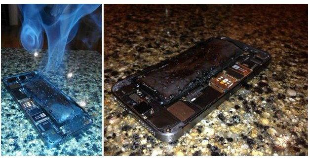 เตือนภัย!! iPhone 5s เอาอีกแล้วไหม้ชะไม่เหลือ