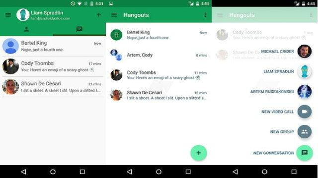 หลุดภาพ Hangouts เวอร์ชัน 4.0 เปลี่ยนเลย์เอาท์ใหม่หมด
