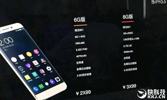 หลุดสเปค LeEco Pro 3 มือถือสเปคจัดหนักด้วย RAM 8GB