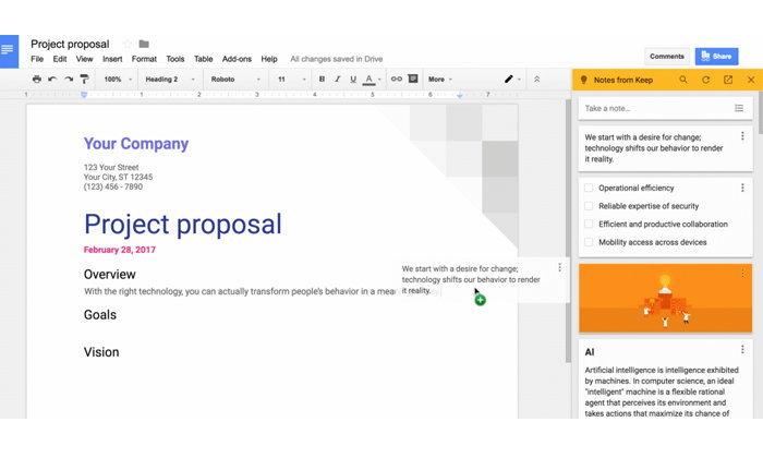 Google Keep ขึ้นเป็นบริการหลักของ G Suite, เพิ่ม sidebar แสดงโน๊ตใน Google Docs