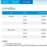 ราคา iPhone6 และ 6Plus เครื่องเปล่าจากจาก Dtac
