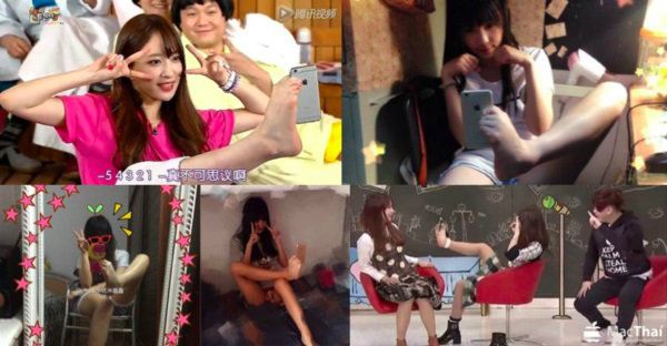เทรนด์ใหม่สุดฮิต !! เมื่อสาวน่ารักโชว์ถ่าย Selfie โดยใช้เท้าข้างเดียวหนีบมือถือ