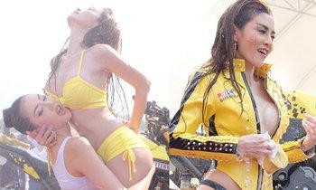 สุดเร่าร้อน เชอรี่ สามโคก โชว์ลีลาล้างรถเปียกปอนกลางสายน้ำ