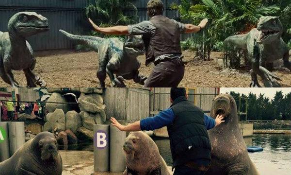 """สุดฮา! เมื่อคนดูเลียนแบบท่าสั่งไดโนเสาร์ใน """"Jurassic World"""""""
