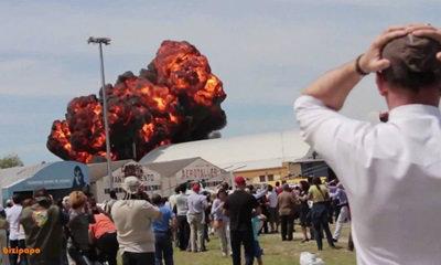 ระทึกขวัญ! คลิปเครื่องบินตก ชนโรงเก็บระเบิดบึ้ม