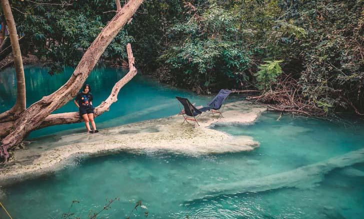 น้ำตกวังก้านเหลือง ลานกางเต็นท์ริมน้ำตกสีฟ้า บลูลากูนแห่งลพบุรี
