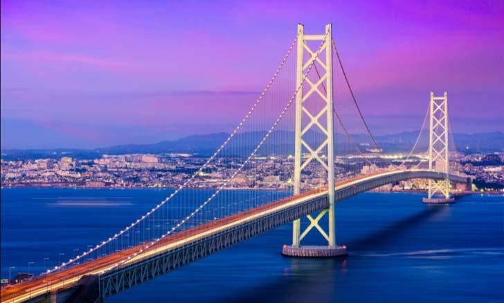 สะพานอะคาชิไคเคียว Akashi Kaikyo Bridge หนึ่งในสะพานแขวน ที่ยาวที่สุดในโลก