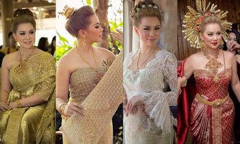 ซูม 4 ชุดแต่งงานไทยประยุกต์ แสนอลังการของ บุ๋ม ปนัดดา