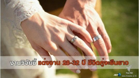 งานวิจัยชี้แต่งงานอายุ 28-32 ปี ชีวิตคู่จะยืนยาว